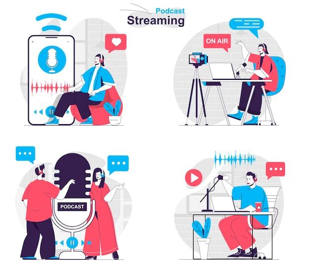 팟캐스트 스트리밍 개념 세트 발표자는 팟캐스트 및 스튜디오 대화를 녹음합니다.