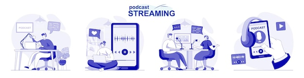 Podcast streaming isolated set in flat design people make online broadcast or recording at studio