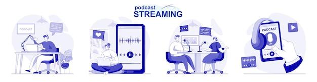 플랫 디자인의 팟캐스트 스트리밍 격리 세트 사람들은 스튜디오에서 온라인 방송 또는 녹음을 합니다.