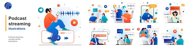 Podcast streaming isolated set online broadcast or recording of interviews of scenes in flat design
