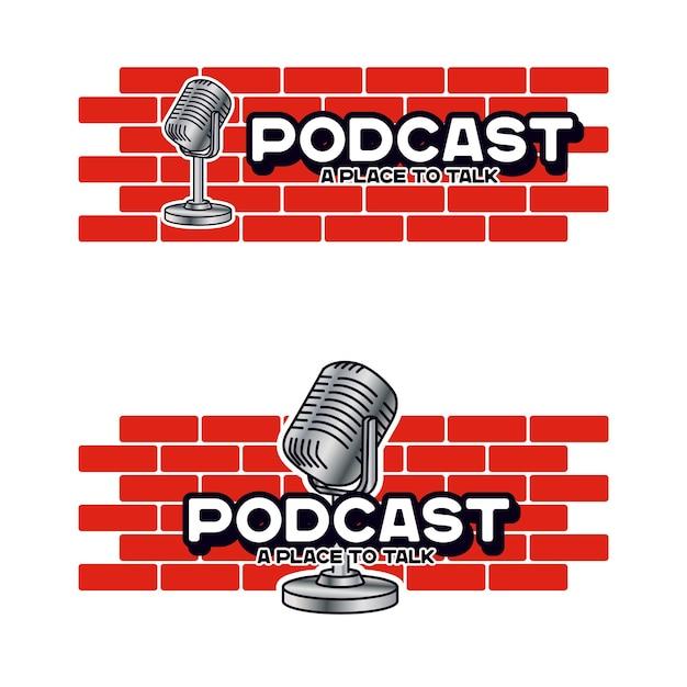 Шаблон логотипа персонажа подкаста talk