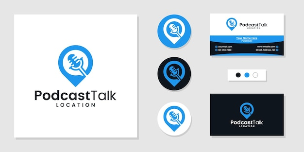 Podcast talk icon with location logo and business card design template inspiration