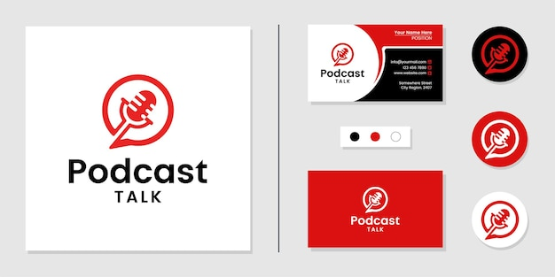 Podcast talk logo icon and business card design template inspiration