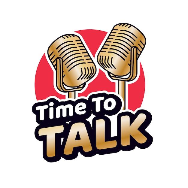 Modello di logo podcast talk
