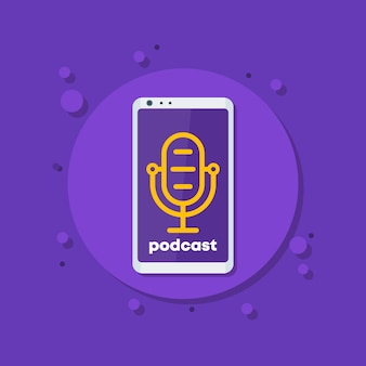 Podcast vector icon with mike and phone
