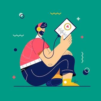 ポッドキャストのベクトル図。タブレットやスマートフォンを介して音楽やラジオを聞いているヘッドフォンの男。ラジオ放送。音楽愛好家はお気に入りの曲のプレイリストをお楽しみください。オンライン学習、自己学習の概念。