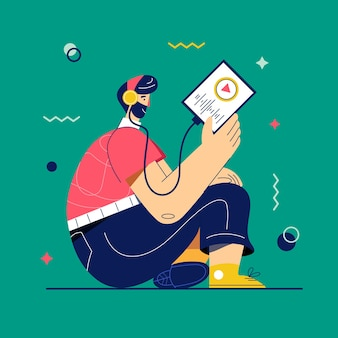 Podcast vector illustration. a man in headphones listening music or radio via tablet or smartphone. radio broadcast. music lover enjoy playlist of favorite songs. online learning, self study concept.