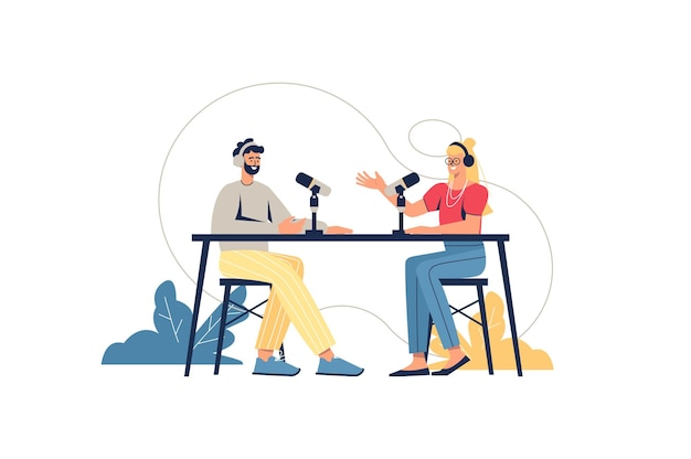 Podcast web concept. presenter and guest in studio broadcasting live, talking into microphones. man and woman recording interview, minimal people scene. vector illustration in flat design for website