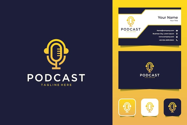 Podcast with headphone modern logo design and business card