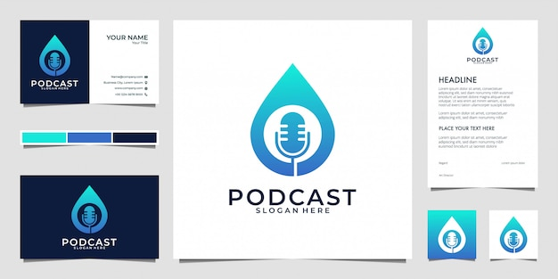 Podcast with microphone and drop water logo design and business card