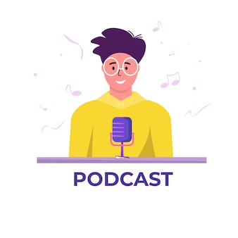 オーディオポッドキャストを聞いて録音するヘッドフォン付きポッドキャスター、オンラインショーベクトルフラットイラスト。マイクとヘッドセットを勉強している若い男性は、ポッドキャストを聞いて、放送しています。ポッドキャストのコンセプト