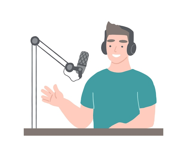 Podcaster at workspace man with headphones is hosting podcast broadcasting concept