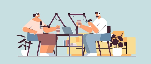 Podcasters talking to microphones recording podcast in studio podcasting online radio broadcasting concept man in headphones interviewing woman full length horizontal