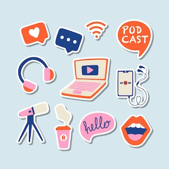 Podcasting stickers collection