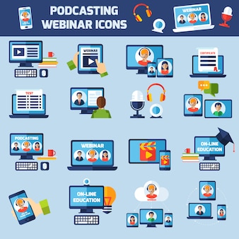 Podcasting and webinar icons set