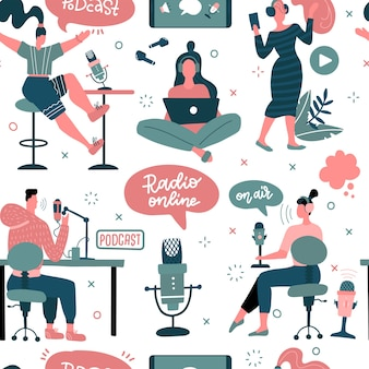 Podcasts concept with people characters flat seamless pattern with clip art for blogging and vlogging man and woman live streaming