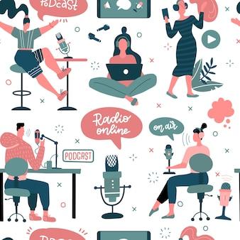 ポッドキャストのコンセプトは、ブログやビデオブログ用のクリップアートを備えたフラットなシームレスパターンの人々のキャラクターです。男性と女性のライブストリーミング