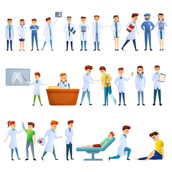 Podiatrist icons set, cartoon style