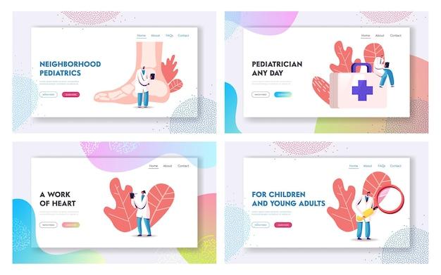 발병 및 소아과 건강 관리 의학 방문 페이지 템플릿 세트.