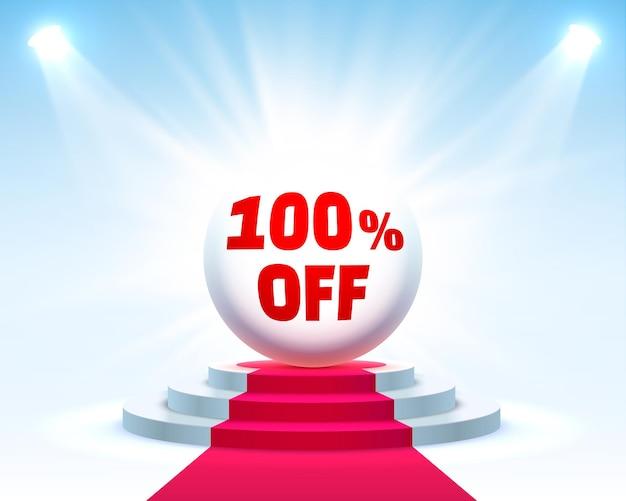 Скидка 100% на подиум с процентной скидкой на акции. векторная иллюстрация