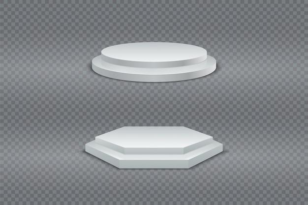 Podium 3d。白い円形と六角形の2段階演壇、台座、またはプラットフォーム