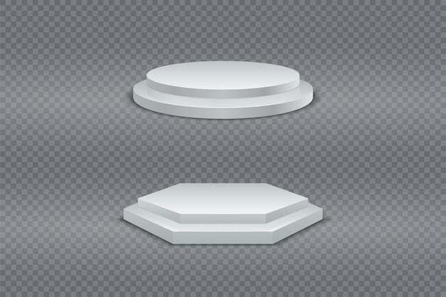 Podium 3d. white round and hexagonal two-stage podium, pedestal or platform
