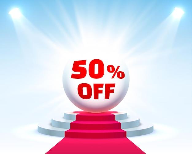 Подиум 50 с процентной скидкой на акции. векторная иллюстрация
