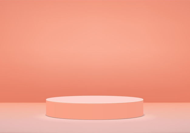Podium in abstract  composition 3d render  background in orange color