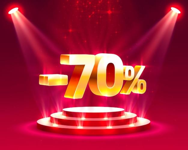 Подиум действий с процентной скидкой 70. векторные иллюстрации