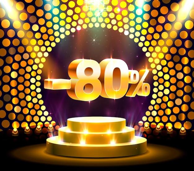 Подиум действий с процентной скидкой 80. векторные иллюстрации