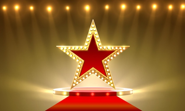 Подиум премия подиум звезды золото, золотой кубок. векторный фон