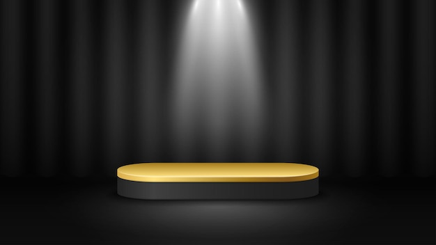 照明付きの表彰台の背景