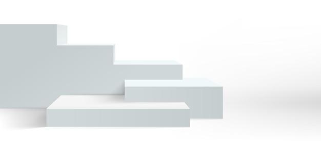 表彰台の背景、ベクトルプラットフォームの台座と製品のディスプレイ、白の3d。空のブロックボックスのステージ表彰台またはスタジオディスプレイスタンド階段。正面階段ステージ