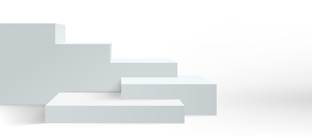 Podium background, vector platform pedestal and product display, white 3d. stage podium or studio display stand stairs of empty block boxes. front view stairs stage
