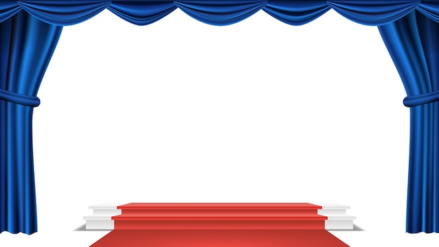 Podium under blue theater curtain vector. ceremony award. presentation. pedestal for winners. isolated illustration