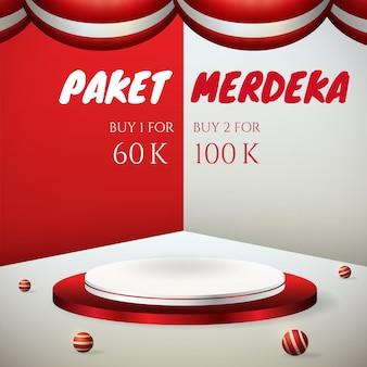 Подиум отображает 3d баннер ко дню независимости индонезии 17 августа