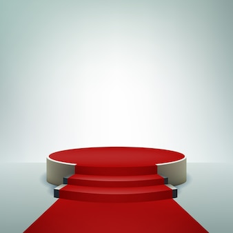 Подиум дисплей фон с красной ковровой дорожкой