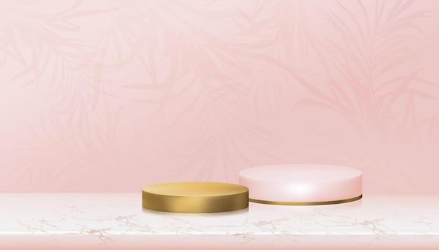 ヤシの葉のある大理石の床にピンクとゴールドのシリンダースタンドで表彰台を表示