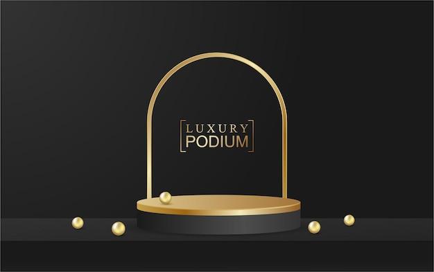 Подиум дисплей продукта и сверкающая линия сцены золотой роскошный стиль черный фон