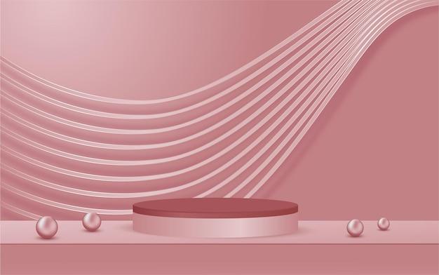 表彰台のディスプレイ製品と輝きのラインシーンピンクの豪華なスタイルの背景
