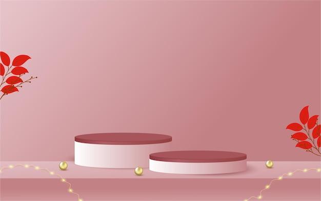 表彰台ディスプレイ製品ピンクの豪華なスタイルの背景