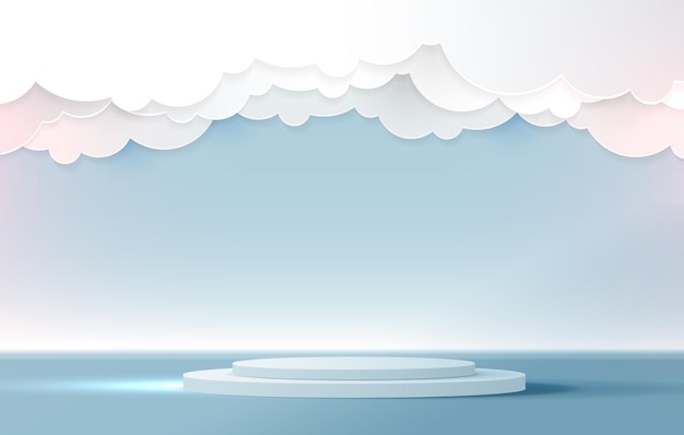 Podium display for product presentation branding and studio stage with beautiful fluffy blue clouds