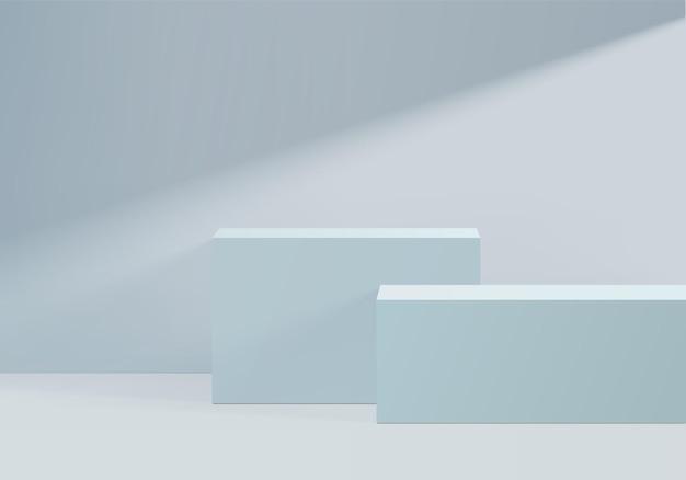 기하학적 모양의 연단 디스플레이 제품, 화장품 플랫폼 용 배경 받침대 렌더링