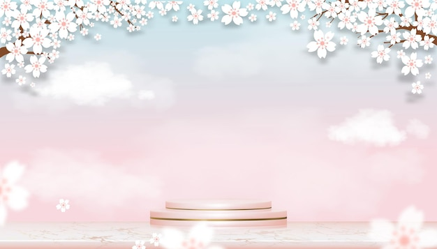 Podium display with spring apple blossom on blue and pink pastel sky. realistic 3d of pink gold cylinder stand platform on rose gold with blossoming branches pink sakura
