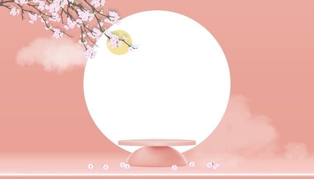 Podium display with spring apple blossom on peach pastel sky. 3d cylinder stand with blossoming pink sakura branches