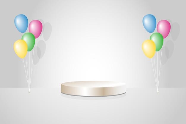 Podium on gray background with balloon