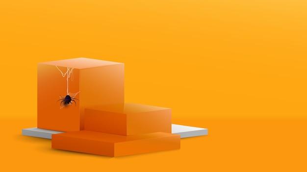 ハロウィーンをテーマにした抽象的なオレンジと白の組成の表彰台。