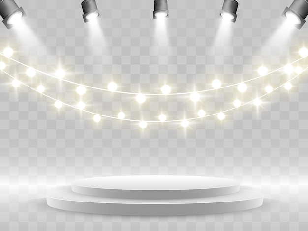 The podium is illuminated by spotlights.