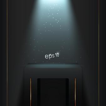 Подиум в темной комнате с синей подсветкой.