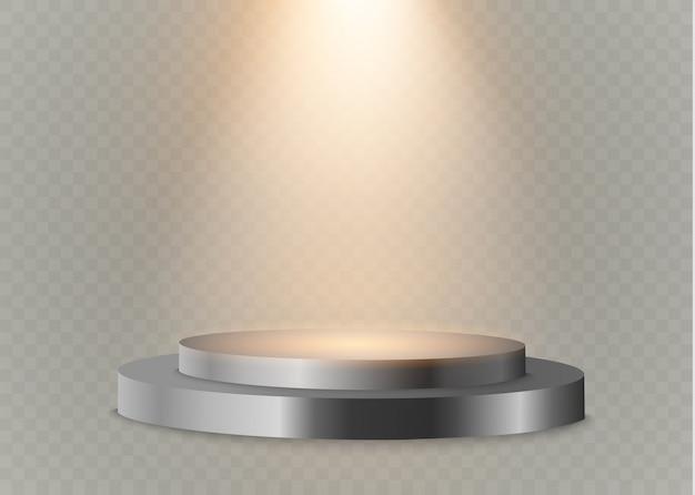 투명한 배경에 연단 연단 밝은 lights.spotlight.lighting와 승자의 연단.